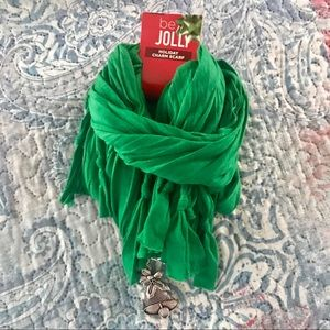 NEW Be Jolly Holiday Charm Scarf Green